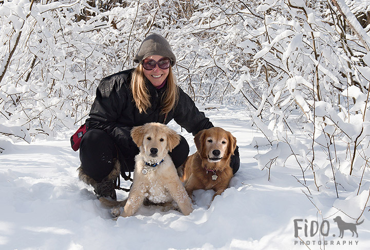 Golden Retriever puppy and adult dog posing with owner in snow